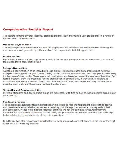 comprehensive insights narrative report