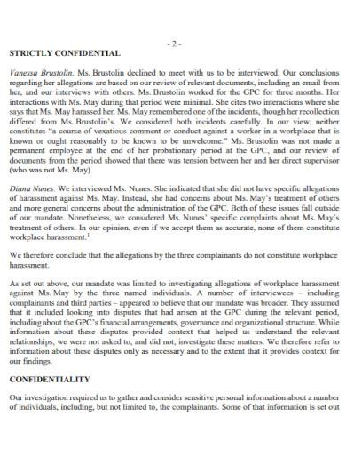 confidential work investigation report