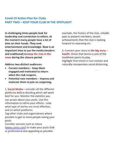 covid 19 action plan for clubs