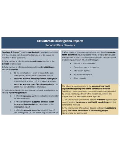 data outbreak investigation report