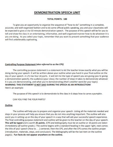 demonstration speech statement