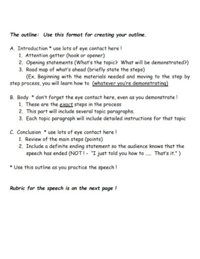 demonstrative speech outline format