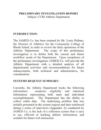 department preliminary investigation report