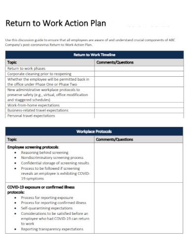 draft return to work action plan