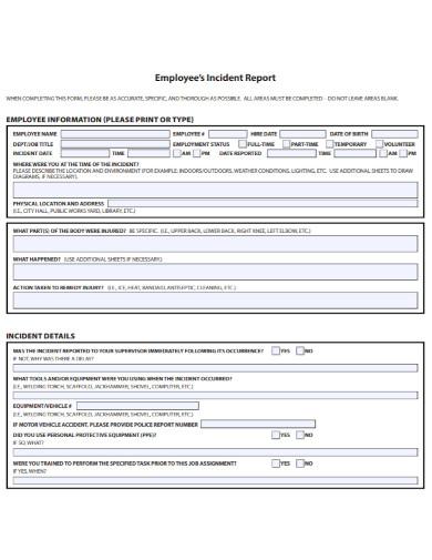 employee job incident report