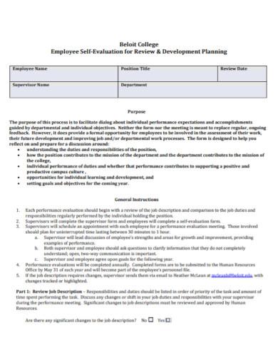 employee self evaluation planning