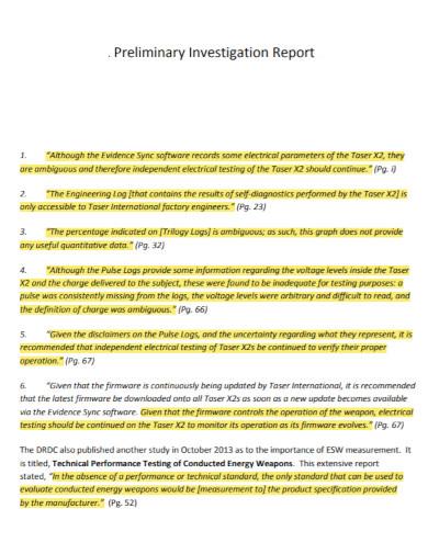 engineering preliminary investigation report