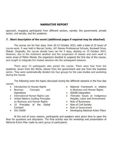event short narrative report