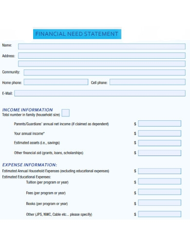 financial need statement in pdf
