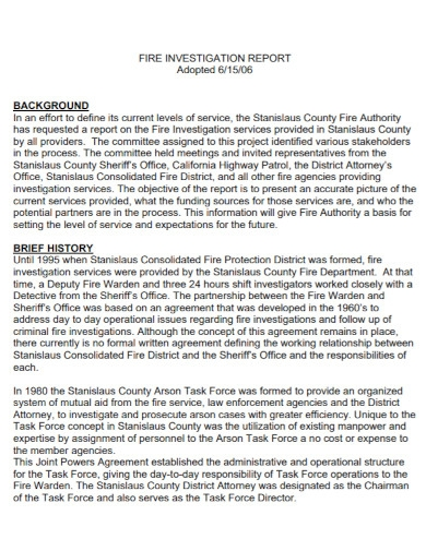 fire authority investigation report