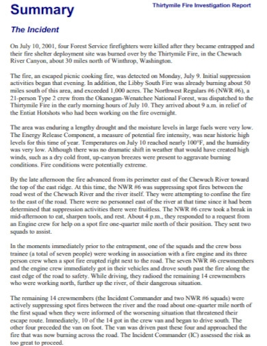 fire investigation summary report