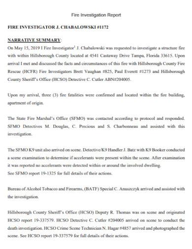 fire rescue investigation report
