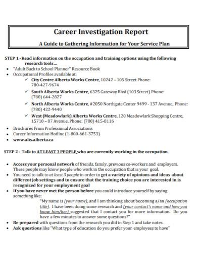 formal career investigation report