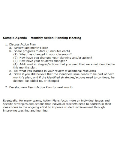 formal monthly action plan