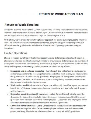 formal return to work action plan