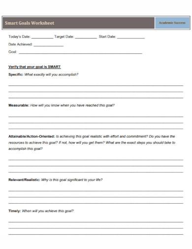 formal smart goals worksheet