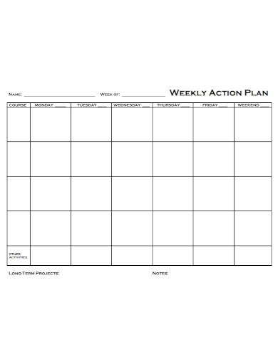 formal weekly action plan