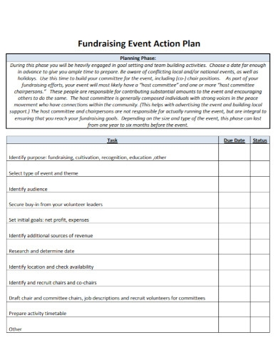 fundraising event action plan