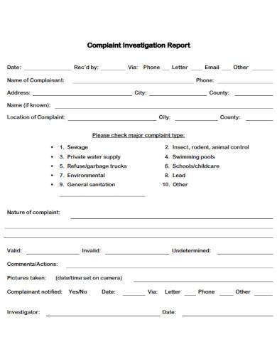 general complaint investigation report