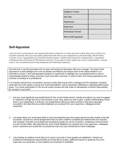 general employee self appraisal