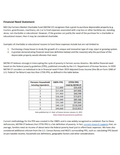 general financial need statement