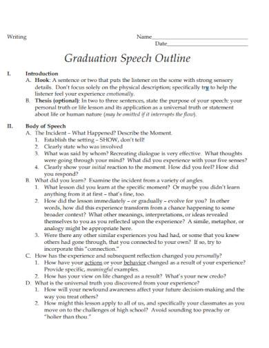 general graduation speech writing outline