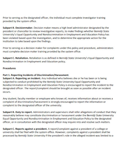 general harassment investigation report