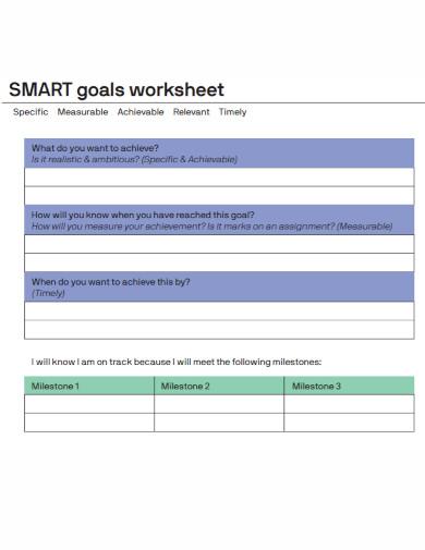 general smart goals worksheet