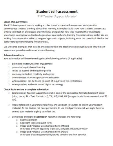 general student self assessment