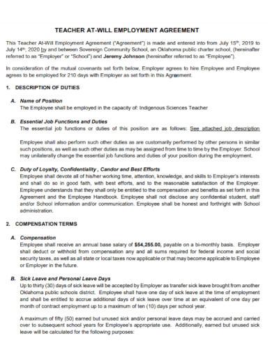 general teacher employment agreement