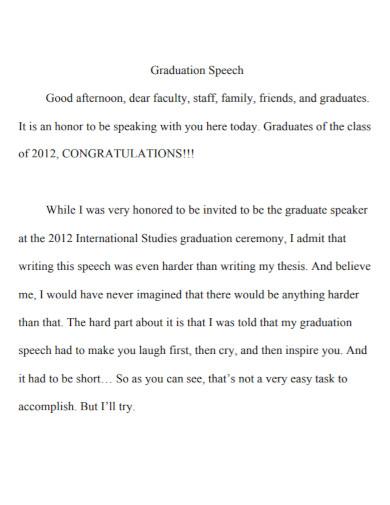 graduation speech writing outline format