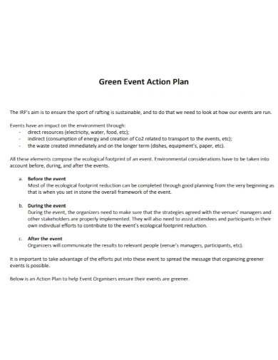 green event action plan
