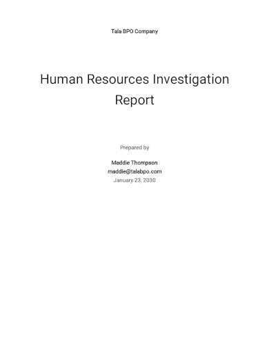 hr internal investigation report template