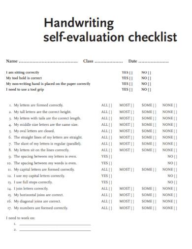 handwriting self evaluation checklist