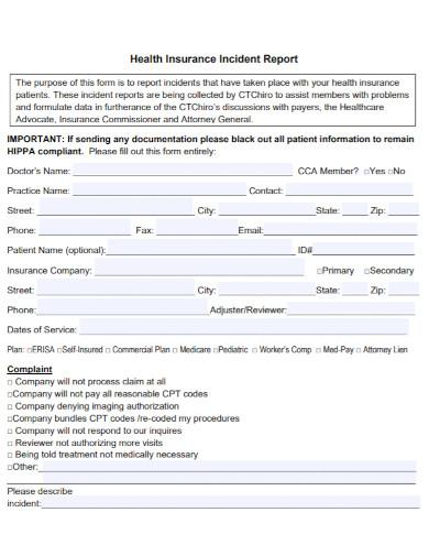 health insurance incident report
