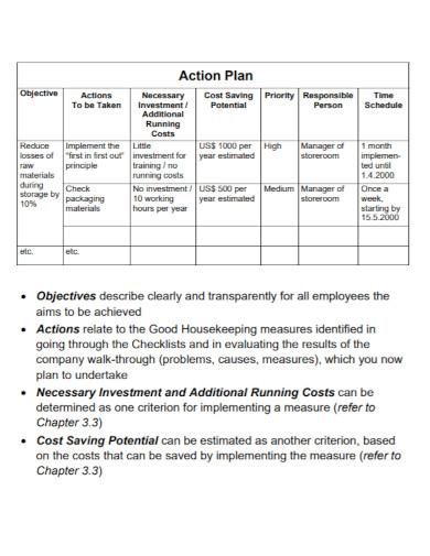 housekeeping action plan template