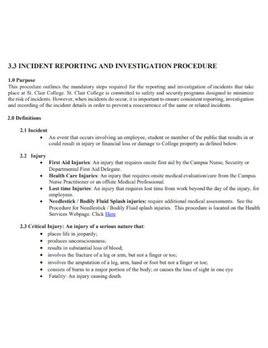 incident investigative policy and report