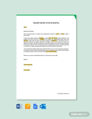 incident report letter in hospital template