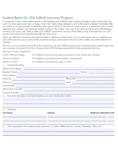 incident report for softball insurance