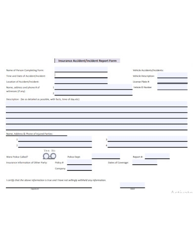 insurance incident report form