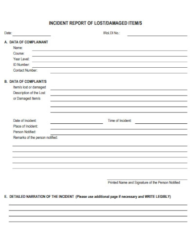 lost incident report template