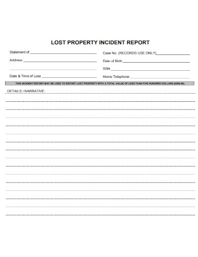 lost property incident report