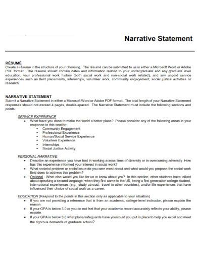 narrative statement in pdf