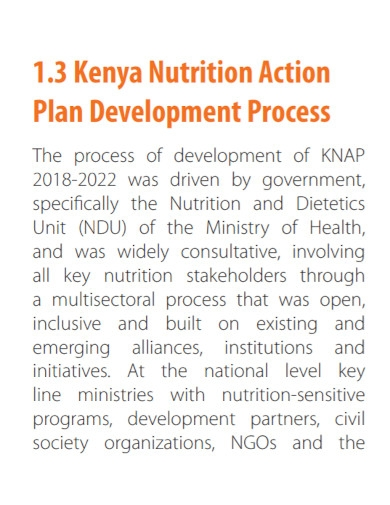 national nutrition action plan