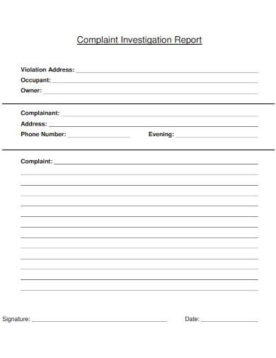 occupant complaint investigation report
