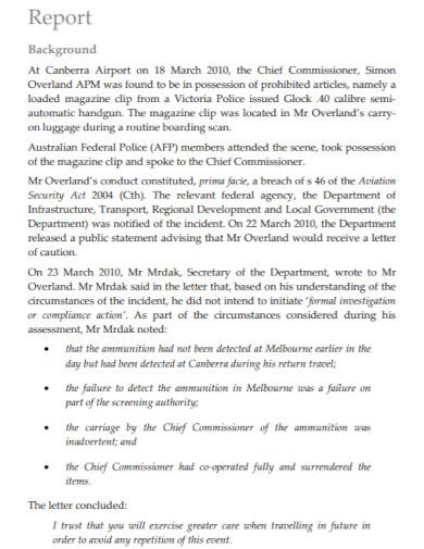 office complaint investigation report