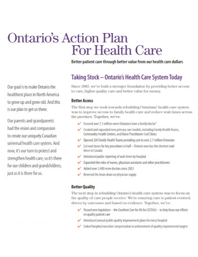 ontarios action plan for health care