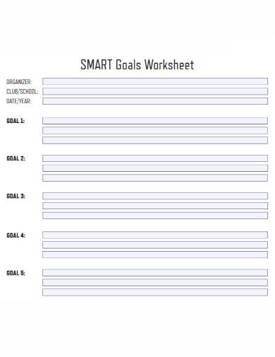 organizer smart goals worksheet