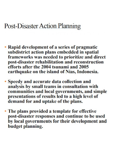 post disaster action plan