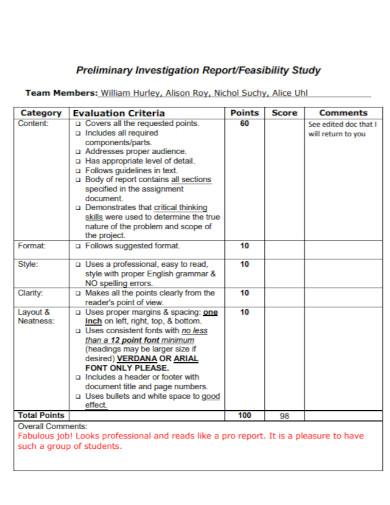 preliminary investigation report template